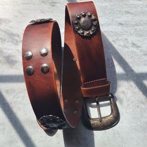 Vintage Italian leather studded belt